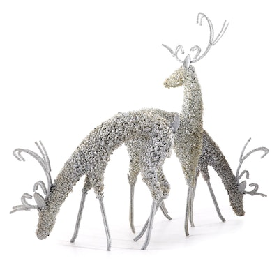 Metal Glitter and Rhinestone Reindeer Ornaments