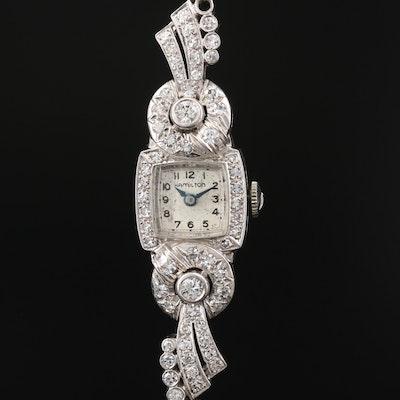 Vintage Hamilton Platinum and 1.25 CTW Diamond Stem Wind Wristwatch