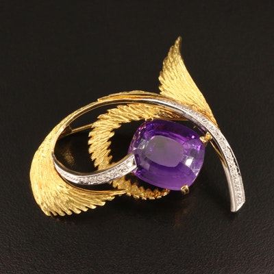 Vintage 18K and Platinum 17.61 CT Amethyst and Diamond Brooch