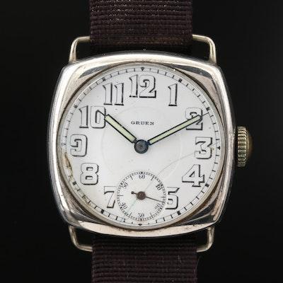 Vintage Gruen Watch Specialties Co. Sterling Silver Trench Watch