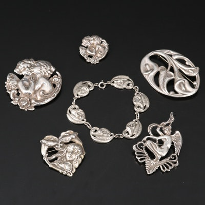 Art Nouveau Inspired Sterling Silver Figural Brooches and Floral Bracelet