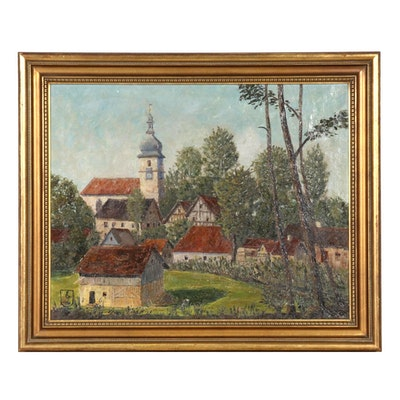 Oil Painting of European Village Landscape, 1933