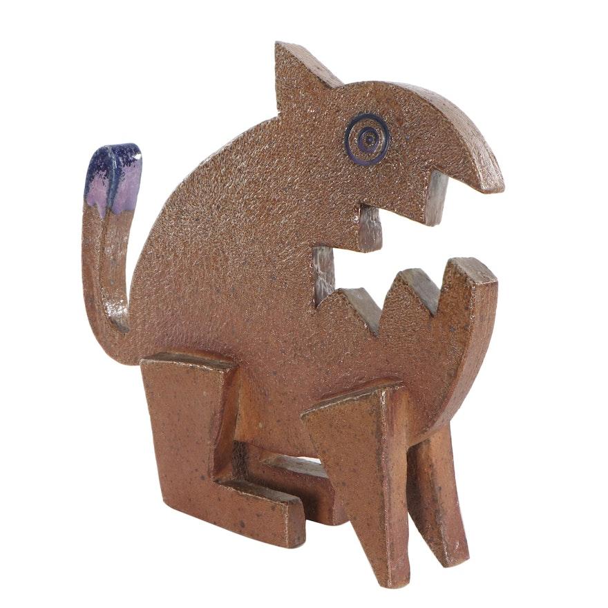 Greg Seigel Abstract Folk Art Ceramic Animal Sculpture, Late 20th Century
