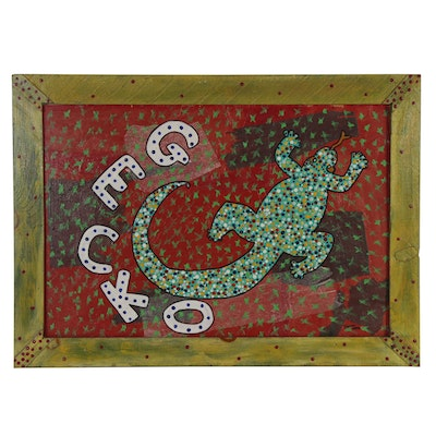 "Folk Art Embellished Acrylic Painting ""Gecko,"" 2006"