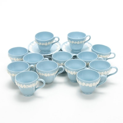 Wedgwood Etruria & Barlaston Cream on Blue Queensware Demitasse Cups