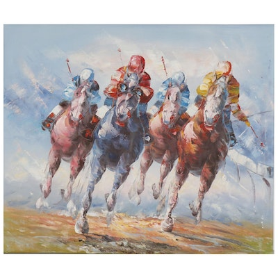 Equine Oil Painting of Jockeys on Horseback