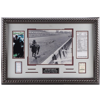 Ron Turcotte Signed Secretariat Photograph Framed with Tripe Crown Memorabilia