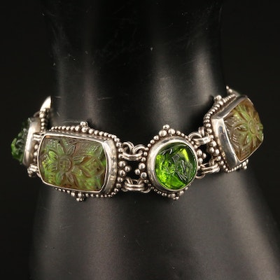 Stephen Dweck Sterling Molded Glass Panel Bracelet