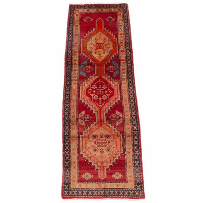 2'11 x 9'1 Hand-Knotted Caucasian Kazak Wool Carpet Runner