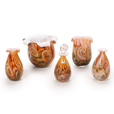 "Gozo Maltese ""Stone"" Art Glass Vases and Perfume Bottle"