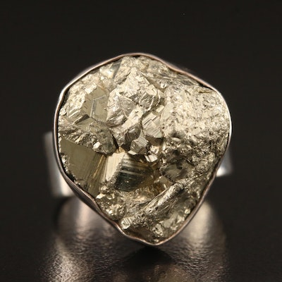 Sterling Silver Pyrite Ring with Open Shank