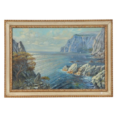 Guido Oduwa Impressionist Style Oil Painting of Coastal Cliffside Seascape