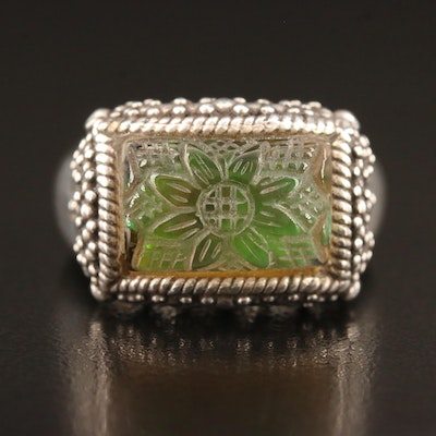 Stephen Dweck Sterling Molded Glass Floral Ring