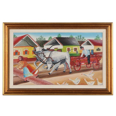 "Jan Venarsky Folk Art Acrylic Painting ""Oxen Team,"" 1984"