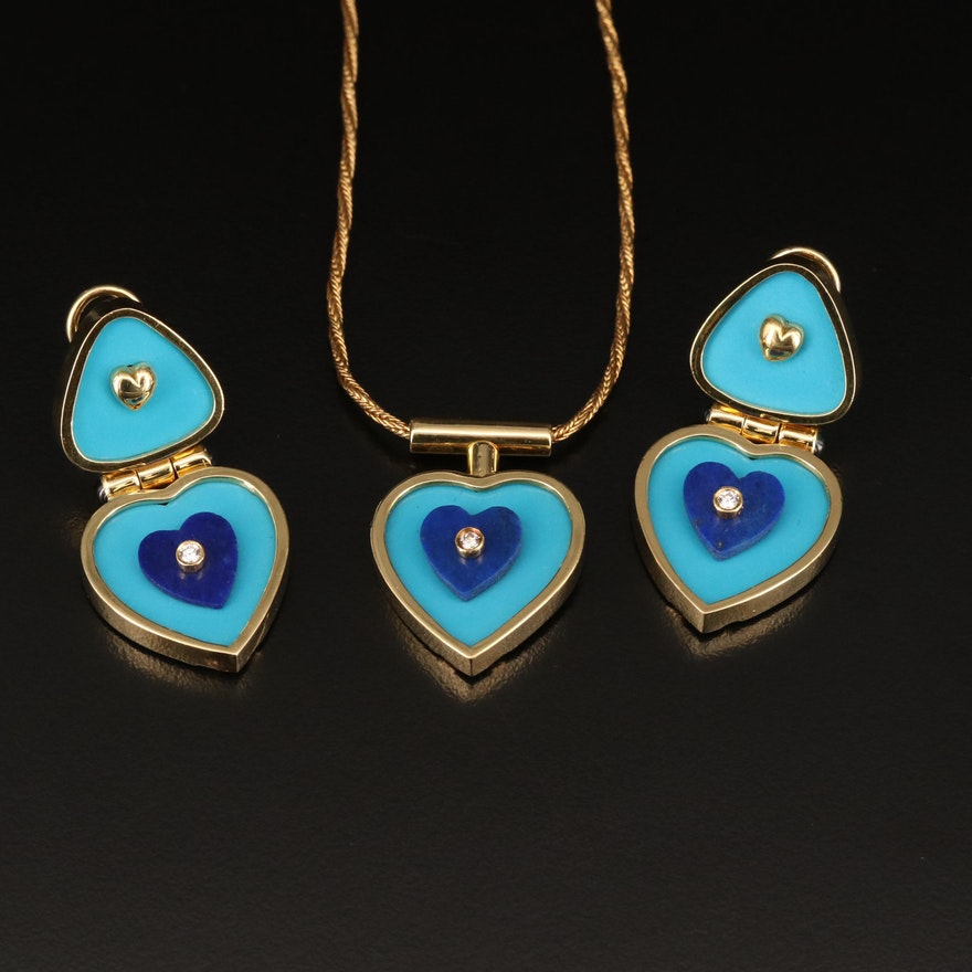 Hammerman Bros 18K Heart Necklace and Earring Set with Turquoise