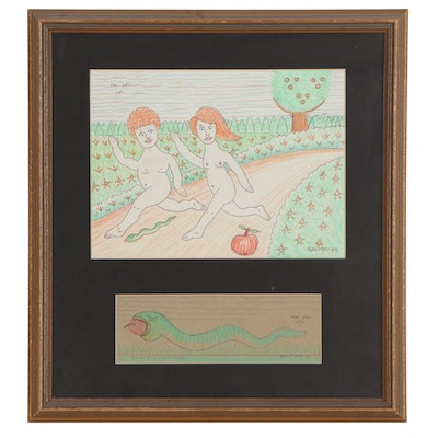 Jack Savitsky Graphite and Colored Pencil Drawings of Adam and Eve, 1989-91