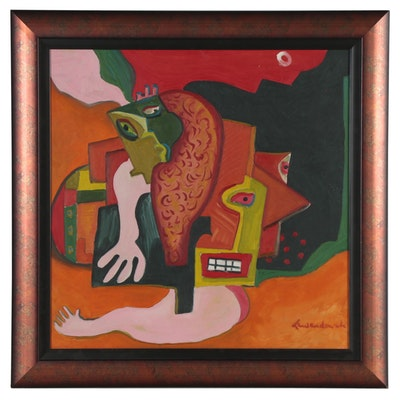 "Lewendowski Oil Painting ""Homage to Picasso,"" Late 20th Century"
