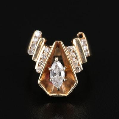 14K Diamond Step Ring