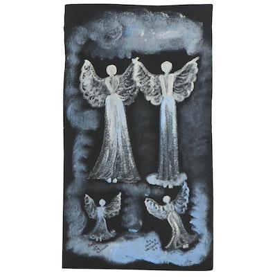 "Annie Wellborn Folk Art Acrylic Painting ""Angel in the Clouds,"" 1994"