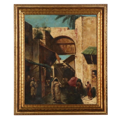 Oil Painting of Middle Eastern Marketplace, Late 19th Century