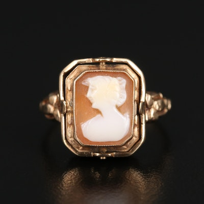 Vintage 10K Garnet and Shell Cameo Reversible Ring