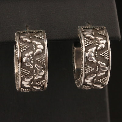 John Hardy Sterling Silver Patterned Hoop Earrings