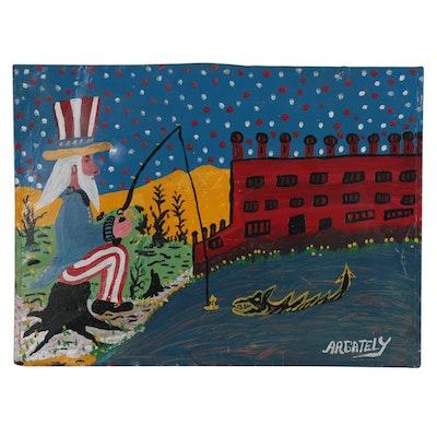 Argately Folk Style Mixed Media Painting of Uncle Sam, Late 20th Century