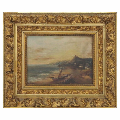 Oil Painting of Coastal Landscape, Late 19th Century