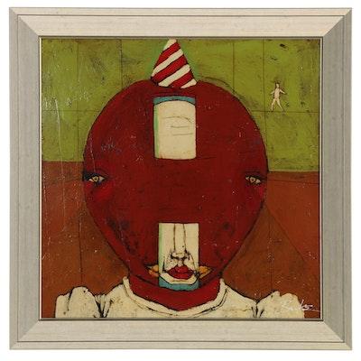 "Michael Banks Folk Art Acrylic Painting ""Over Joy Boy Inside"""