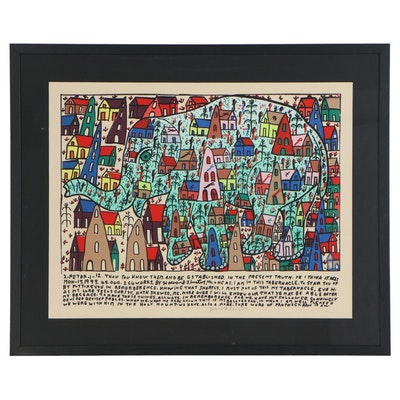 Howard Finster Folk Art Serigraph of Elephant Cityscape, Late 20th Century