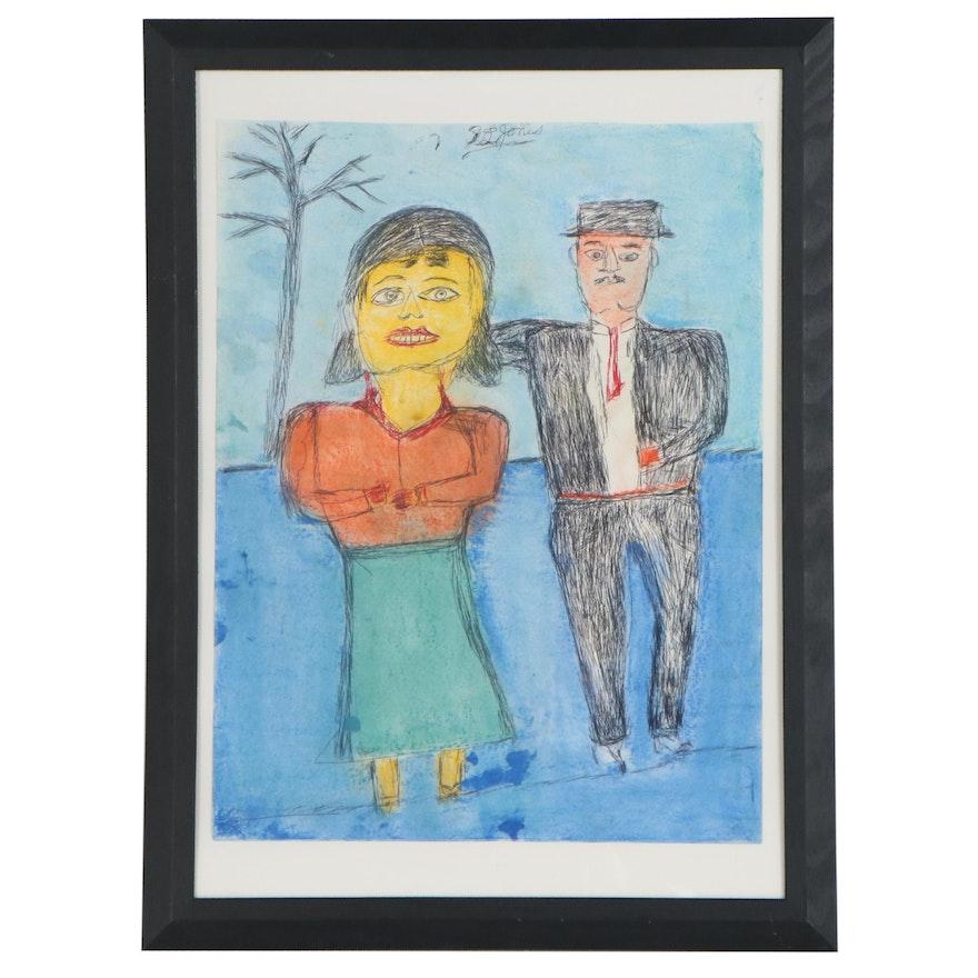 S.L. Jones Folk Art Mixed Media Drawing of Couple, Late 20th Century