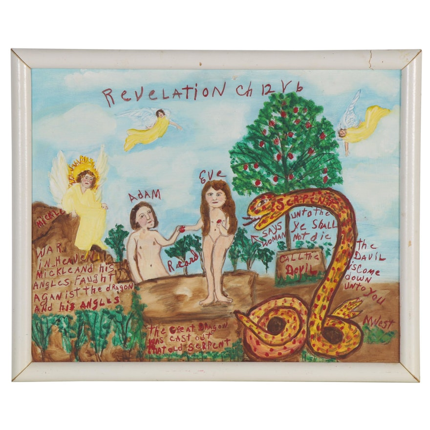 "Myrtice West Folk Art Mixed Media Painting ""Adam & Eve,"" Late 20th Century"