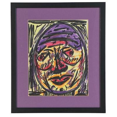Cher Shaffer Portrait Folk Art Ink Drawing, Late 20th Century