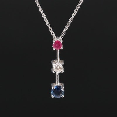 14K Ruby, Diamond and Sapphire Drop Pendant Necklace