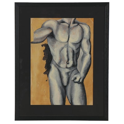 Figural Oil Painting of Male Nude, Late 20th-21st Century