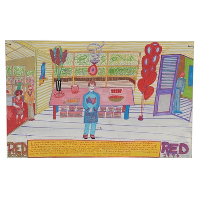 """Naive Style Gouache Painting """"Red October,"""" 1996"""