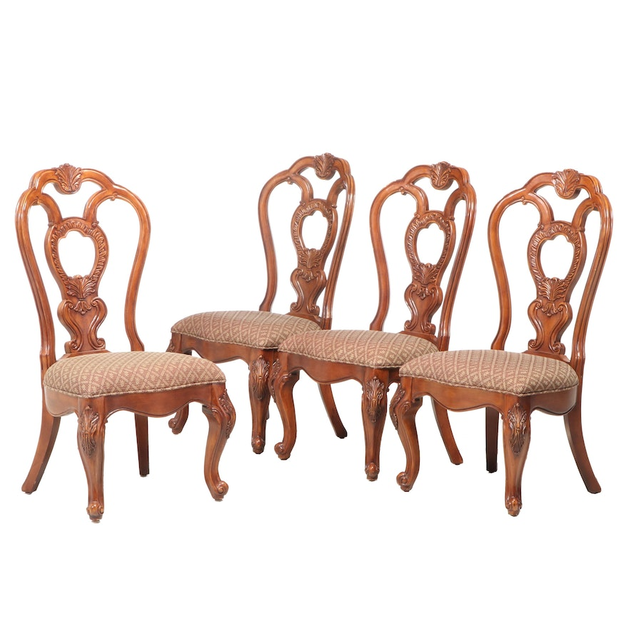 Four Louis XV Style Mahogany-Stained Side Chairs