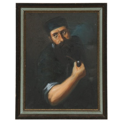 Oil Painting of Man with Pipe