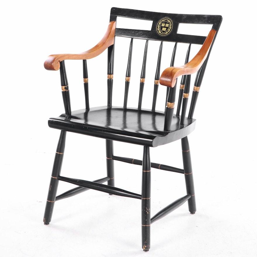 Nichols & Stone Harvard Insignia Ebonized Wood Windsor Armchair, Mid-20th C.
