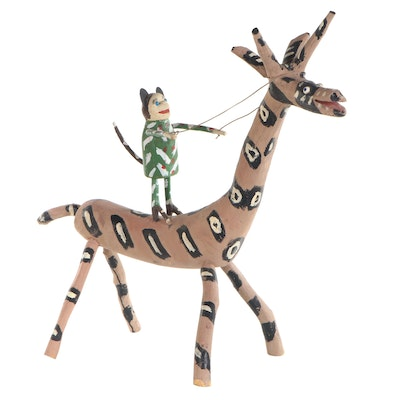 Edd Lambdin Folk Art Sculpture of Monkey Riding a Giraffe, Late 20th Century