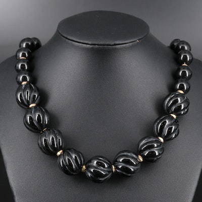 Graduated Black Onyx Bead Necklace with 14K Spacers