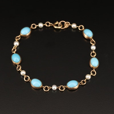Vintage Turquoise and Pearl Bracelet