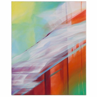 "Deborah Bigeleisen Acrylic Painting ""Mondrian on Steroids,"" 21st Century"