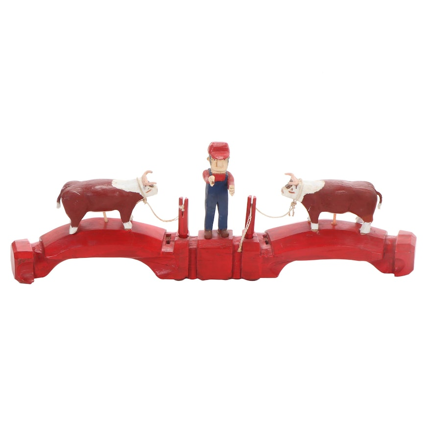 Carved Folk Art Wooden Yoke Sculpture with Man and Cows, Late 20th Century