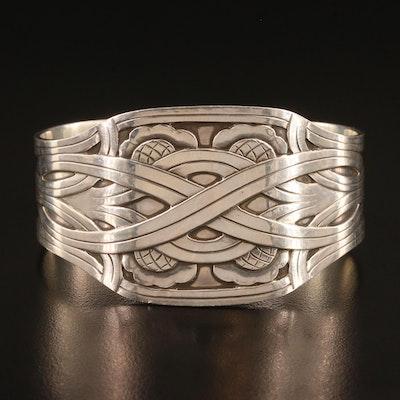 Vintage Harald Nielsen for Georg Jensen Sterling Silver Knot Motif Cuff