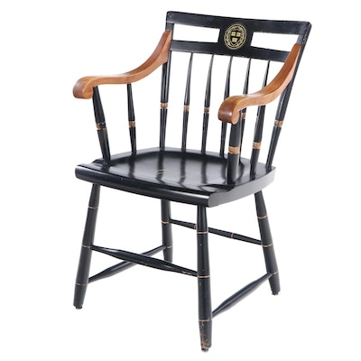 Nichols & Stone Harvard Insignia Ebonized Wood Windsor Armchair, Mid-20th C.
