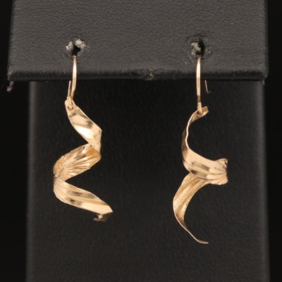 14K Spiral Dangle Earrings