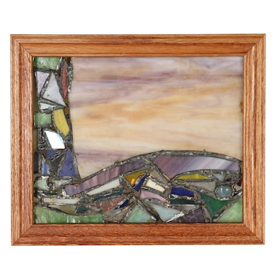 Abstract Leaded Slag and Stained Glass Panel, Late 20th Century