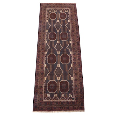 3'7 x 10'4 Hand-Knotted Afghan Baluch Wool Long Rug