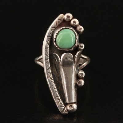 Southwestern Sterling Turquoise Squash Blossom Ring